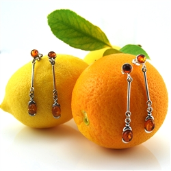 Amber Sterling Silver Drop Earrings