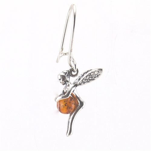 Silver Amber Fairy Earrings pendant necklace