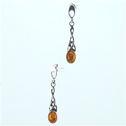 Amber Twisted Sterling Silver Drop Earrings