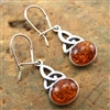Amber Silver Celtic Knot Drop Earrings