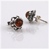 Amber Round Silver Stud Earrings