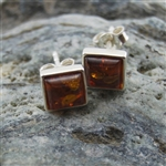 Amber Square Silver Stud Earrings