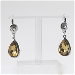 Topaz Teardrop Flower Silver Drop Earrings