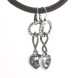 Smokey Crystal Heart Silver Pendant Earrings