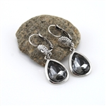 Smokey Crystal Teardrop Flower Drop Earrings