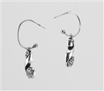 Silver Curl Crystal Earrings