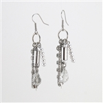 Pearls Crystal Silver Dangle Earrings