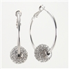 Swarovski Crystal Ball Rhodium Hoop Earrings