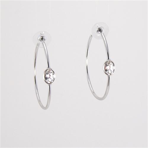 265f69b274f75 Swarovski Crystal Rhodium Hoop Earrings