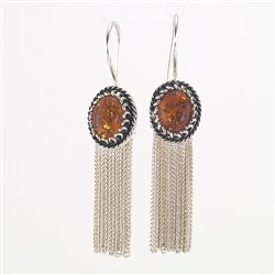Sterling Silver Amber Tassel Drop Earrings