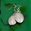 Hammered Silver Oval Drop Pendant Earrings