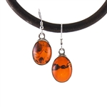 Amber Earrings Silver Drop