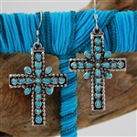 Turquoise, Cross, Sterling Silver, Drop Earrings, Dangle
