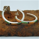 Green Turquoise, Coral, Onyx, Silver Hoop Earrings
