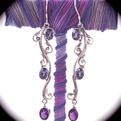 Amethyst Sterling Silver Indonesian Design Drop Earrings