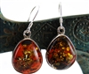 Large Amber Silver Drop Earrings with Light Catching Inclusions