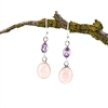 Rose Quartz and Amethyst Sterling Silver Drop Earrings