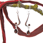 Garnet Sterling Silver Double Drop Earrings
