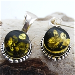 Green Amber Silver Post Drop Earrings
