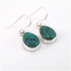 Tibetan Turquoise Sterling Silver Drop Earrings