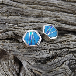 Turquoise and Opal Silver Post Earrings
