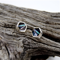 Black Onyx Opal Sterling Silver Stud Earrings