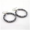 Smokey Bling Reflctive Bead Hoop Earrings