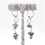 Smoky Bling Bead Spiral Drop Earrings