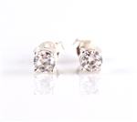 White Cubic Zirconia Post Earrings 7mm