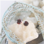 Garnet Sterling Silver Stud Earrings January Birthstone