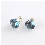 Aquamarine Sterling Silver Stud Earrings March Birthstone