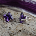 Amethyst Sterling Silver Stud Earrings February Birthstone