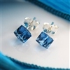 Blue Topaz Cube Sterling Silver Stud Earrings