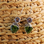 Peridot & Amethyst Sterling Silver Drop Earrings Birthstones For February & August