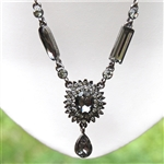 Oxidized Silver Smoky Crystal Teardrop Necklace