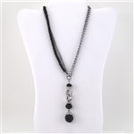 Black Bead Crystal Silver Long Chain Y Necklace