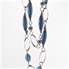 Double Strand Silver Chain Blue Bead Necklace