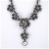 Crystal Flower Oxidized Silver Choker Bib Necklace