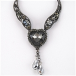 Smoky Crystal Heart Choker Necklace