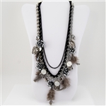 Flowers Charms Coins Crystal Multi Chain Necklace