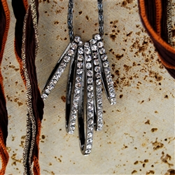 Oblong Crystal Ring Pendants Chain Necklace