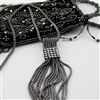 Silver Necklace with Tassels and Crystals