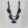 Turquoise Bead Bird Nest Bib Necklace