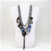 Flower, Chocolate, Feather, Leopard, Butterfly Charm Bib Necklace