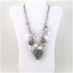 Large Crystal Heart Pearl Bib Necklace