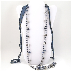 Blue Black Silver Geometric Bead Necklace