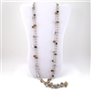 Silver Geometric Beads with Amber Beads Necklace