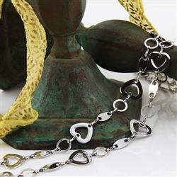 Stainless Steel Heart Link Chain Necklace