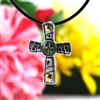 Real Four Leaf Clover Sterling Silver Cross Pendant Necklace