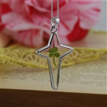 Real Four Leaf Clover Celtic Sterling Silver Cross Necklace